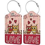 VORMOR Etiquetas para Equipaje,Valentines Day Owls Love Heart Print,2 Piezas Etiquetas de Equipaje de Viaje Etiquetas de Identificación de la Maleta para Maletas,Mochila