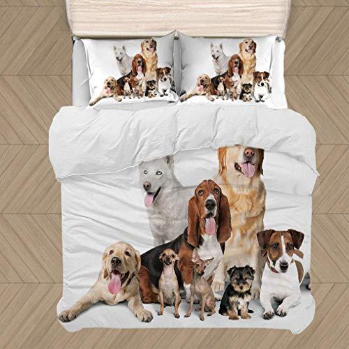 Dog Lover Decor Juego de Funda nórdica, Grupo de Perros posando para sesión de Fotos, Retrato, compañerismo, Juego de 3 Piezas, Incluye 2 Fundas de Almohada y 1 Funda nórdica, marrón Beige