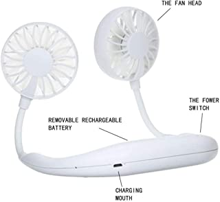 USB Fan Handheld Rechargeable Fan Neck Fan Wearable Portable Neckband Mini Fan Headphone Design with Rechargeable Battery 3-Speed Adjustable 360 Degree Rotation Suitable for Indoor and Outdoor