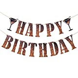 Kwayi Happy Birthday Banner, Exclusive Black Gold Themed Birthday Banner with ribbon, Reusable Birthday Party Supplies For Boys Girls Men Or Women