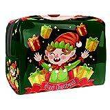 Neceser de Maquillaje Estuche Escolar para Cosméticos Bolsa de Aseo Grande Elfo de Dibujos Animados de Navidad Divertido riendo