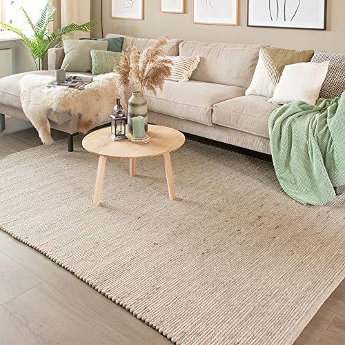 FRAAI Wollteppich - Wise Weiß Naturfarben 607 - 70x140cm - Wolle - Flachgewebe - Einfarbig - Ländlich, Skandinavisch - Wohnzimmer, Esszimmer, Schlafzimmer