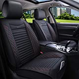Aierxuan 5 Car Seat Covers Full Set Waterproof Leather Seat Protectors Car Cushion Covers Universal for Auto Sedan SUV Truck (Full Set/Black-Red)