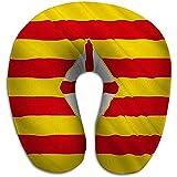 Memory Foam U förmiges Kissen,Neuheit Reiserestkissen Flagge Provinz Barcelona Ostspanien Flagge...