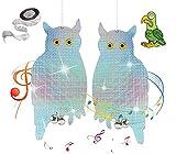 QIMMU 2 Piezas Búho Repelente de Aves,Búho Espantapajaros,Reflectante Búho,Repelente Aves Búho Control de Aves,Anti Aves Búho Espantapajaros