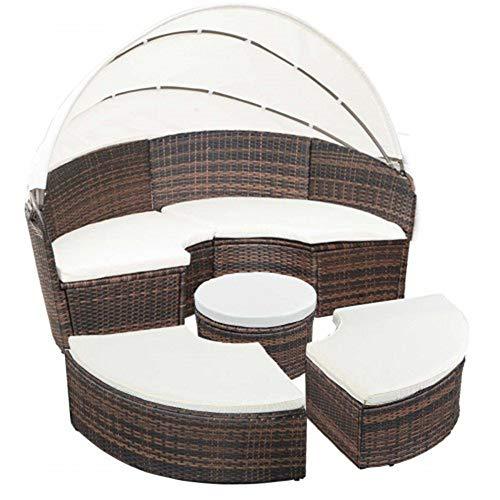 GAOXQ Garten-Rattan-Stuhl-Set-Terrassenmöbel mit einziehbarem Baldachin-Wicker Rattan runden Schlafsofa Beige