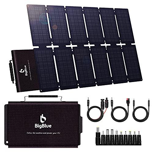BigBlue 100W ETFE Cargador Solar Plegable Solar Panel con PD 60W Tipo-C, USB Puertos y 19V DC Salida para Generador Portátil, Teléfono Celular o Batería, Carga Rápida