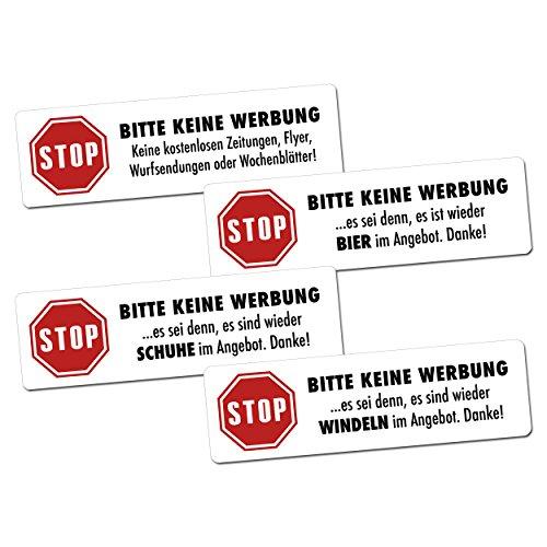 fundoleo 4 x 4 Bitte-Keine-Werbung-Aufkleber (Classic-, Bier-, Schuhe- und Windel-Edition = 16 Stück)