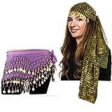 Tigerdoe Gypsy Costume Women - Gypsy Headpiece and Hip Scarf 2 PC Set - Belly Dance Costume - Gypsy Coin Belt