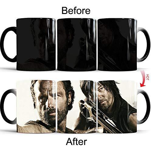 yrxh Walking Dead Mug Verfärbung Kreative Horrorfilm und Fernsehen Peripherie Heißwassertemperatur Keramik Kaffeetasse-Die wandelnde Tote Armbrust_301-400 ml