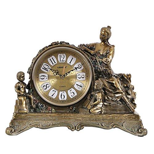 JCOCO Horloge de table en résine européenne rétro décoration de salon Horloge de bureau de bureau américain muet non-ticking décorative horloge de bureau facile à lire avec cadran en verre