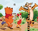 Paint by Number Kits Canvas DIY Oil Painting for Kids, Students, Adults Beginner with Brushes and Acrylic Pigment -Winnie The Pooh and Tigger and Pig Pijie Cartoon (21024, 16x20 no Frame)