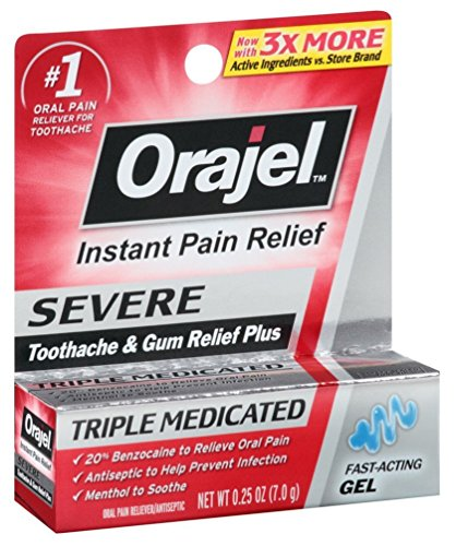 Orajel Severe Triple Medicated Instant Pain Relief 0.25 Ounce Gel (7ml) (2 Pack)