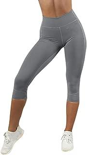 Dunacifa Womens High Waisted Yoga Pants Solid Seamless Leggings Gym Capri Tight Yoga Leggings 7//8-Length