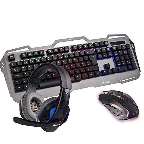 NGS GBX-1500 Kit Gaming Teclado Multimedia + Ratón Óptico + Auricular Estéreo con Micrófono (Teclado AZERTY Idioma Francés)