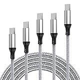 Câble USB C, [5 Pack / 0,2 M + 1,2 M + 1,8 M * 2 + 5 M] Câble De Synchronisation USB C Rapide USB...