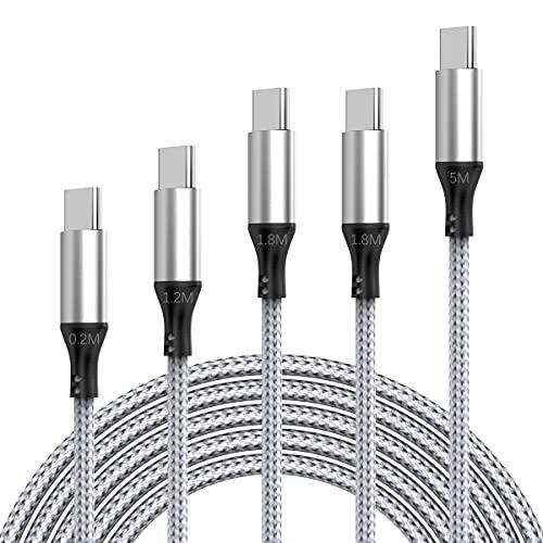 Cable USB C, [5-Pack /0.2M + 1.2M + 1.8M * 2 + 5M] Cable De Sincronización USB C Rápido USB C, Adecuado Para Galaxy S10 / S9 / S8 + / S8, Pad Pro 2018, Sony XZ, HTC 10, Huawei P9, etc.