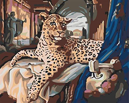 GJNFVFDF Pintura por Números con Pinceles y Pinturas Decoraciones DIY Lienzo Digital al óleo Regalo para Niños Estudiantes Adultos Principiantes Leopardo, en Cama(40x50cm Sin Marco)