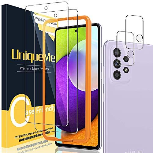 [2+2 Pack] UniqueMe Compatible con Samsung Galaxy A52 5G / 4G Protector de Pantalla y Protector de Lente de cámara, Vidrio Templado [9H Dureza] [Marco de Alineación] HD Film Cristal Templado