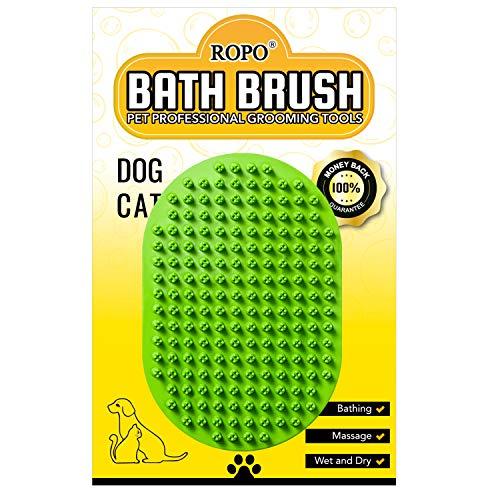 ROPO Hunde-Badbürste, Gummi-Massage-Shampoo-Bürste für Haustiere, zur Fellpflege, zum Entfernen...