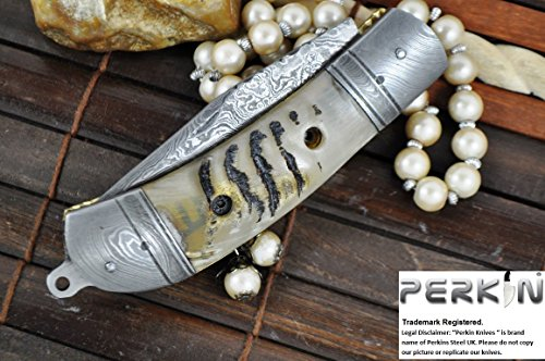 Perkin Knives Couteau de Poche personnalisé Damscus Main