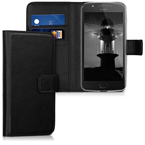 kwmobile Hülle kompatibel mit Motorola Moto E4 - Kunstleder Wallet Hülle mit Kartenfächern Stand in Schwarz