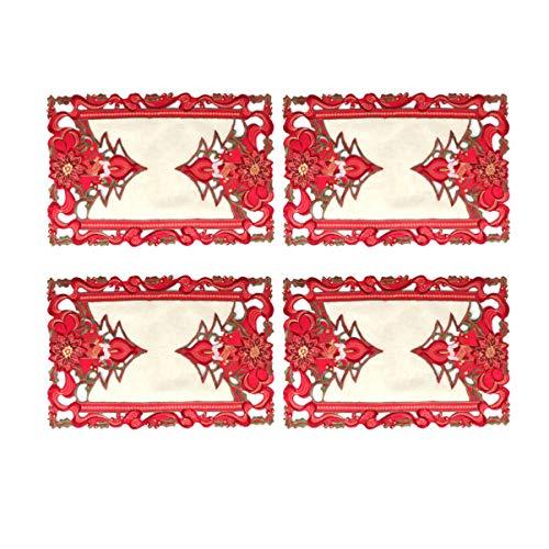 VOSAREA Mantel de Navidad Bordado Mesa Cubierta decoración Fiesta Suministros Decoraciones navideñas 4 Piezas...