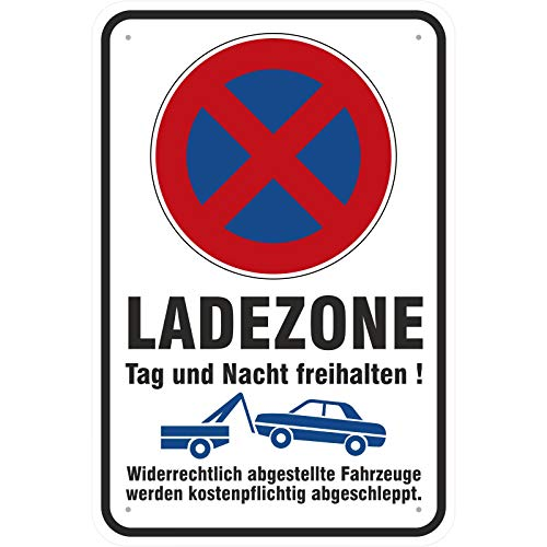 Schild Ladezone Parken Halten verboten, Bitte freihalten aus Aluminium-Verbundmaterial 3mm stark 40 x 60 cm