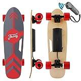 Nesaila Skateboard électrique 70 cm, Longboard en érable 7 Couches avec télécommande sans Fil, Skateboard pour Les Adolescents et Les Adultes,Vitesse Vaximale 20 km/h, Moteur Singal 350W (Rouge)