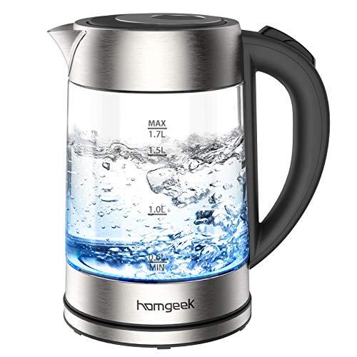 Hervidor de Agua Electrico, Homgeek 1.7 litros Calentador de Agua, 2200W Ebullición...