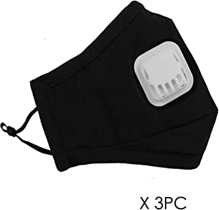 3-Pack Reusable Dust Flu Masks with Replaceable N95 Valve Filters Outdoor Cycling Windproof Mouth Mask PM2.5 Activated Carbon Anti Pollution Pollen Allergy Half Face Masks Respirator for Women Men