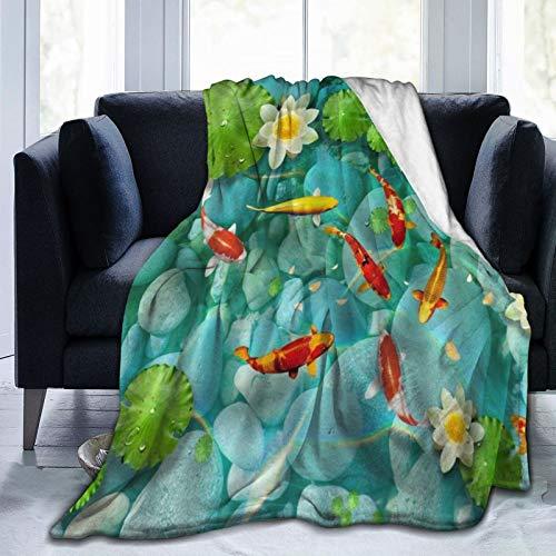 PANILUR Manta de Franela Suave,Koi japonés Lotus Rock Hoja de nenúfar Natural Dream Pond Zen,Cama de Camping para sofá 127x102cm
