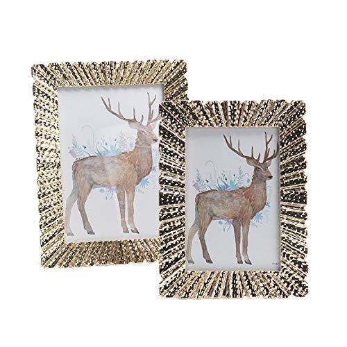 Metalen fotolijst, Opzettafel, Modern Minimalistisch, Gouden Decoratief Fotoalbum, Herdenkingsfotolijst 6 inches A