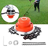 WICHEMI Lawn Mower Chain Weed Trimmer Head 65Mn Grass Brush Cutter Weed Eater Blade Outdoor Garden Tools Universal (Orange)