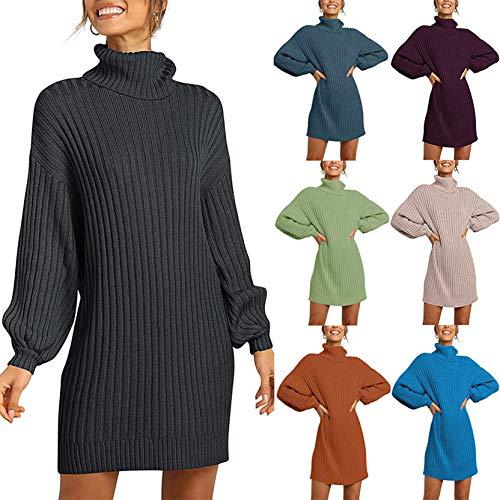 Grizy Damen Winterkleid Pulloverkleid Strickkleid Overzised Pullover, Frauen...