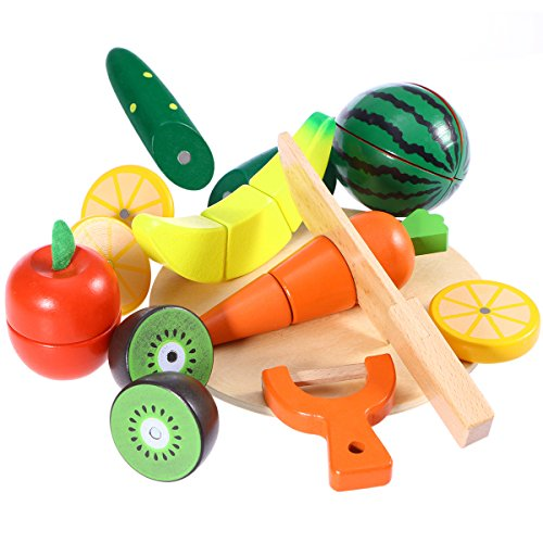 ROSENICE Spiel-Lebensmittel Küchenspielzeug Set Holztablett mit Holzobst Gemüse Schneideset by ROSENICE