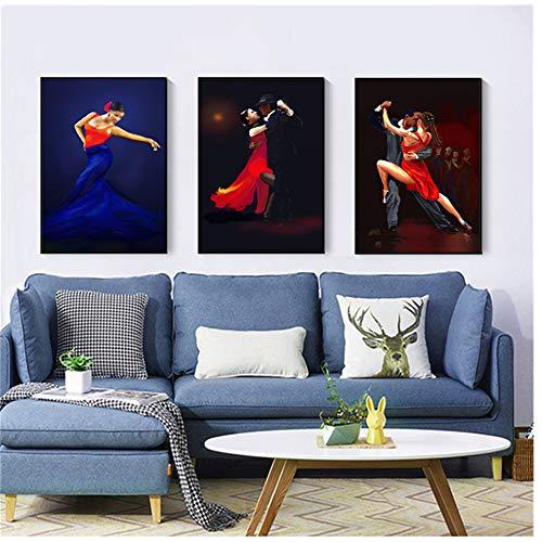 HSFFBHFBH Leinwand Wandkunst Bilder Abstrakte Malerei Tanz Poster Vintage Tango Dekoration Charmante Frauen Party TÄNZER Kunst 60x80 cm (23,6