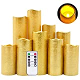"""DRomance LED Flameless Flickering Candles Battery Operated with Remote and Timer, Set of 9 Gold Coating Warm Light Real Wax Pillar Candles for Christmas Home Decoration(D2.2""""xH4""""5""""6""""7""""8""""9)"""