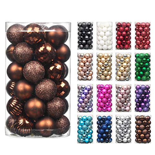 """QinYing 4cm/1.57"""" Coffee 41pcs Christmas Tree Hanging Balls Christmas Balls Ornaments for Holiday Party Baubles Decoration Set with Hang Rope"""