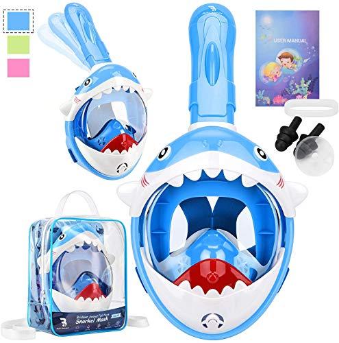 bridawn Máscara de Snorkel Cara Completa para niños Diseño Lindo con Mochila portátil Máscaras de Buceo Submarino Easy Breathe Antivaho Antifugas Tubo de respiración Superior seco Plegable