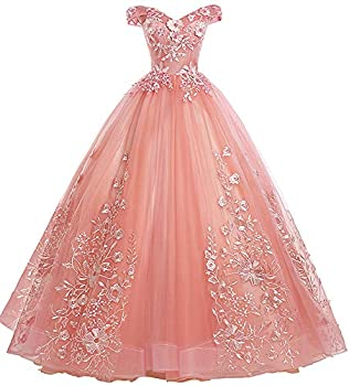 EileenDor Women s Quinceanera Dresses Lace Appliques Off Shoulder Ball Gown Sweet 16 Dresses with Pearl US2 Pink
