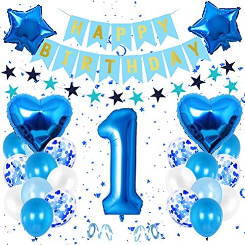 1er Cumpleaños Bebe Globos Decoracion, Cumpleaños 1 Año Bebe Niño, Foil Globo Número 1 Azul, Globos Numeros 1 Decoracion, Globos de Confeti de Latex Boy Ballon Party Cumpleaños 1 Año
