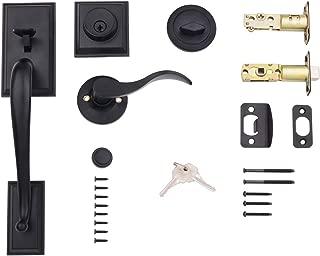 AmazonBasics Modern Door Handle and Deadbolt Lock Set, Left-Hand Wave Door Lever, Matte Black