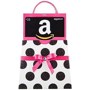 Amazon.com $25 Gift Card in a Polka Dot Reveal (Classic Black Card Design)