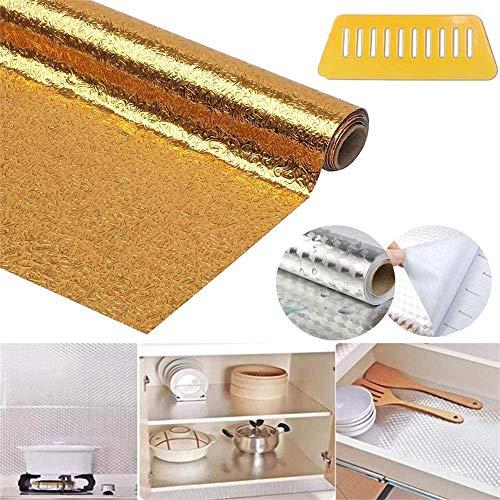 Keuken olie sticker, zelfklevende waterdichte aluminium folie Croppable muur Sticker van pvc, for Olie-, Waterdicht en Brandwerende Behang for Stove Tile. (Color : B Gold, Size : 40 * 300cm)