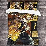 Demon Slayer Kimetsu no Yaiba Comics Anime Manga KNY Zenitsu Agatsuma Bettwäsche 3-teiliges Steppdecken-Set für Herren & Erwachsene, leichte Tagesdecke (1 Steppdecke, 2 Kissenbezüge) C10181
