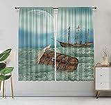 Cortinas opacas de fantasía, antiguo tronco en olas del océano con pájaro mágico pirata barco imagen cortinas para dormitorio, 63 pulgadas de ancho x 45 pulgadas de largo verde menta caramelo claro