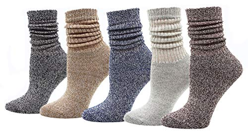 Bienvenu Womens Thin Cotton Blend Socks Stretchy Mid-calf High Warmer Media Corta Socks for Girl Lady, Mixed Color 5