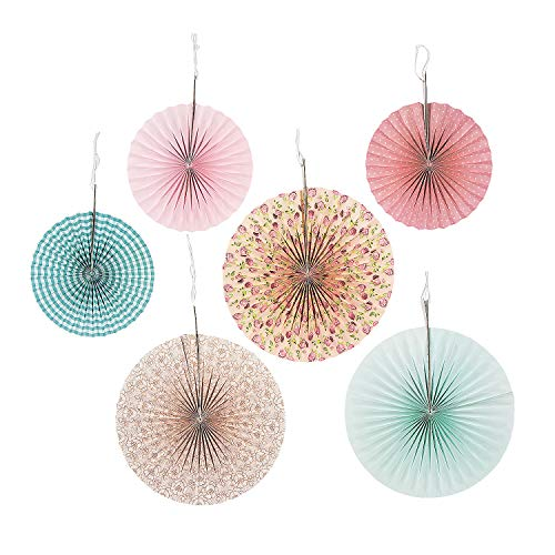 Fun Express Vintage Collection Hanging Fans for Wedding - Party Decor - Hanging Decor - Misc Hanging Decor - Wedding - 6 Pieces