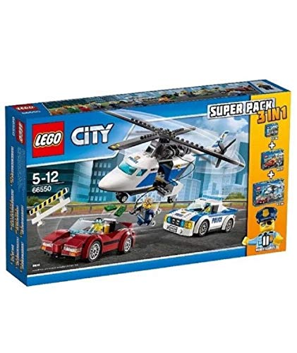 Seltenes LEGO-City-Polizei-Set 66550, 3-in-1-Megapack (60136, 60137, 60138) mit 11 Mini-Figuren